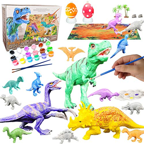 Yileqi Kids Crafts and Arts Dinosaur Painting Kit, Party Favors Dinosaurs Toys Art and Craft for Boys Girls Age 4 5 6 7 8 Years Old, Fun DIY Kids Paint Birthday Gifts for Children Animal Set