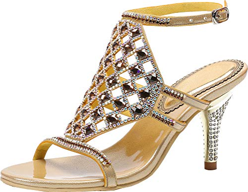 Womens All Match Rhinestone Heeled Sandals Sexy Dress Wedding Party Brides OL Gold 4 UK