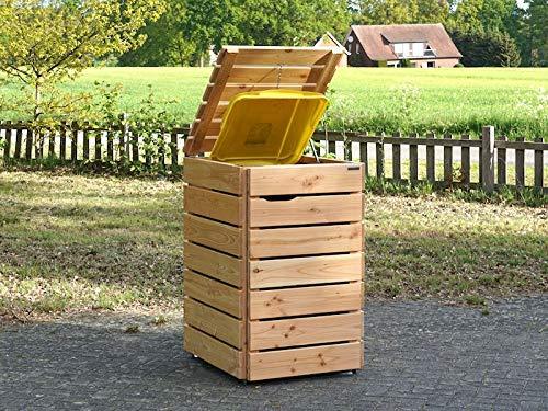 1er Mülltonnenbox 240 L Holz, Deckend Geölt Anthrazit Grau - 2