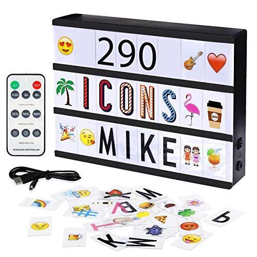 Larkotech Light Box Caja de Luz A4 con Control Remoto con 209 Emoji y Símbolos, Ideal para Decorar Hogar, Habitación, Boda, Regalo para Navidad, Cumpleaños, Personalizar mensajes