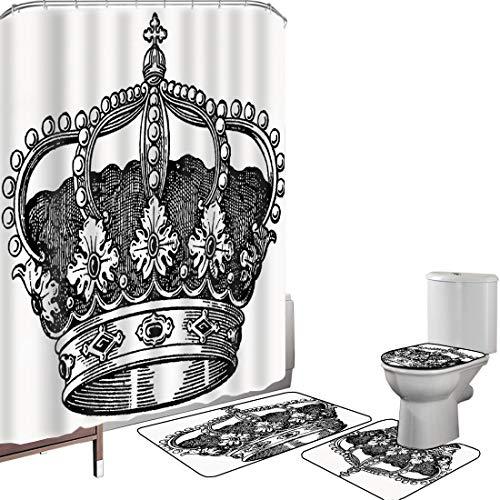 Juego de cortinas baño Accesorios baño alfombras Reina Alfombrilla baño Alfombra contorno Cubierta del inodoro Antiguo Royal Crown Kingdom Emperador Gobernante Zar Símbolo Monarquía Autoridad Icono De