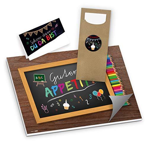 itenga Set 3-teilig Einschulung Schulanfang Schule Schulkind Party Tafel Feier - Tischset Bestecktaschen Tischkarten
