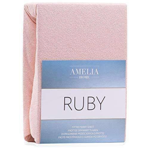 AmeliaHome DecoKing - Sábana Bajera Ajustable (algodón Rizado), Color y tamaño a Elegir, algodón, salmón, 180x200-200x200 cm