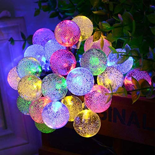 Solar String Lights Garden 36Ft/11M 60 LED Outdoor Crystal Ball String Lights 8 Modes Waterproof Fairy Lights for Indoor/Outdoor, Home, Patio, Party, Wedding, Chrismas (Multi-Coloured)