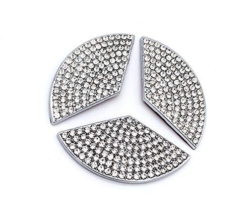 für Lenkradverzierung Lenkrad Logo Emblem Aufkleber Strass Steine A B CLA GLA GLC GLK C E S Silber (C D 49mm)