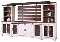 RR White Anton Sturdy Solid Wood Farmhouse Style Sliding Barn Door Entertainment Center TV Stand