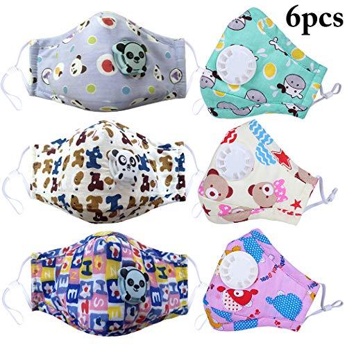 6 UNIDS cubierta facial de la boca cubierta facial linda de la cubierta facial de algodón a prueba de polvo PM2.5 cubierta facial de la cara para niños