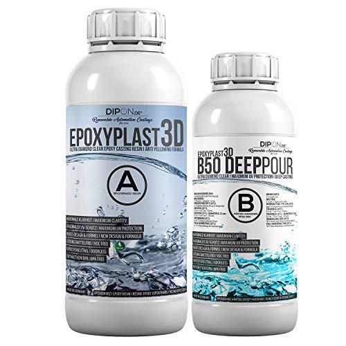 1,5 KG Epoxidharz EpoxyPlast 3D B50 DEEP POUR 5 CM (50 MM) Gießhöhe für Rivertische I Ultra Diamantklar I Maximaler UV Schutz I Gießharz I Glasklar I Resin I Epoxi I EP I Tisch
