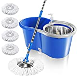 MASTERTOP Easy Wring Spin Mop & Bucket System -360 Spin Mop & Bucket Floor Cleaning, Stainless Steel Mop Bucket with Wringer Set, 4 Microfiber Replacement Head Refills