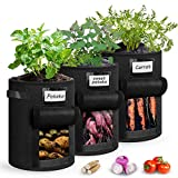 SUNKONG Potato Grow Bag, 3 Pack Gallon Plant Bag with Handles and Access Flap, Nonwoven Fabric Home Grow Bags for Vegetables,Fruits,Onion,Carrot (7 Gallon)