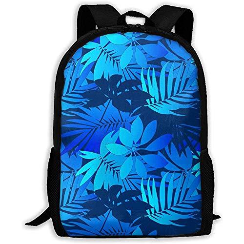 Sac à Dos Mid and Light Blue Tropical Leaves Bookbag Casual Travel Bag for Teen Boys Girls