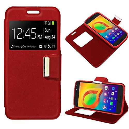 iGlobalmarket Funda Flip Cover Tipo Libro con Tapa para Alcatel A3 Liso Rojo