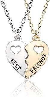 Iumer 2 Pcs Best Friends Necklace Alloy Woman Hollow Split Heart Pendant Friendship Necklace