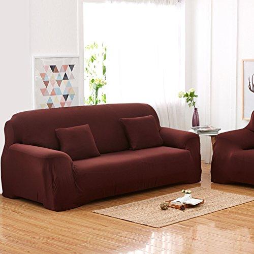 Sofás De 3 Plazas Covers 7 Colores Sólidos Estuche De Estiramiento Completo Tela Elástica Soft Sofá Funda Sofá Protector Muebles De Casa ( Color : Marrón )