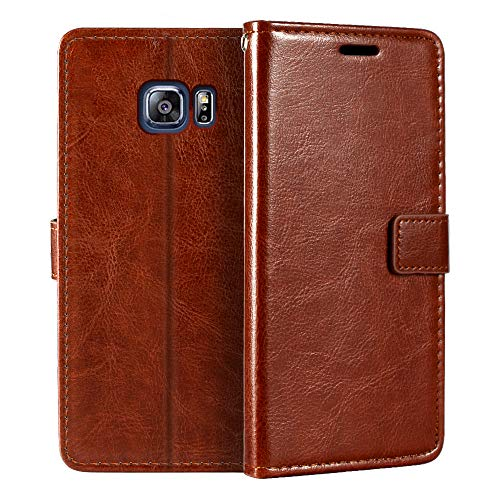 Funda tipo cartera para Samsung Galaxy S6 Edge Plus, de piel sintética de alta calidad, con tarjetero y función atril para Samsung Galaxy S6 Edge Plus