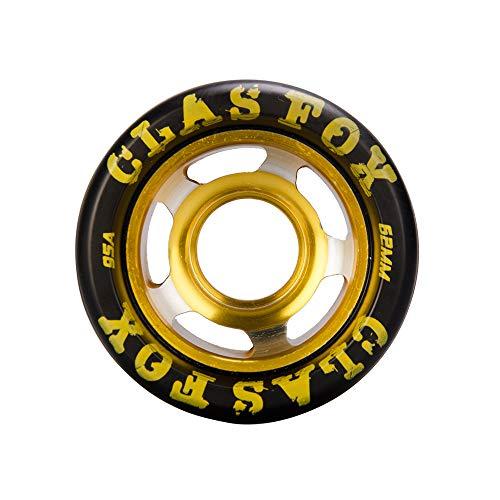CLAS FOX 95A Speed/Derby Wheels Aluminum Roller Skate Wheels Outdoor Roller Replacement Wheel (Set of 8) (Black PU Gold Core)