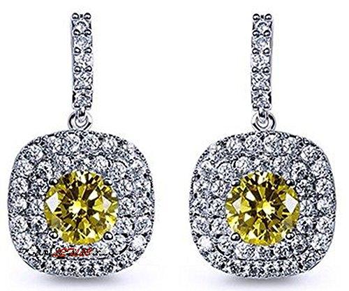 LILY TREACY Cz baumeln Ohrringe 5ct Top russischen Zirkonia simulierten Diamant Cushion Cut Doppel Halo-Art-Geschenk Braut Leuchtend gelbe