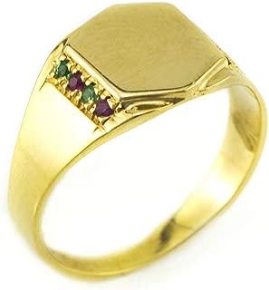 9k/14k Gold Women Signet Ring, Ruby, Emerald, Alternative Gemstones Pinky Ring, Personalized Birthday Ring Gift for Her.