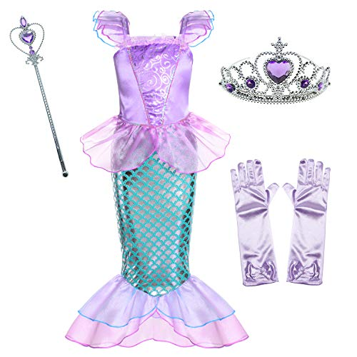 Little Girls Mermaid Princess Costume for Girls Dress Up Party with Gloves,Crown Mace 5-6 Years