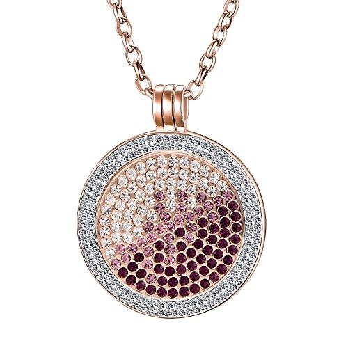 Morella Collar Mujeres de 70 cm Fabricado de Acero Inoxidable y Zirconia con Moneda de Rosa-Plateado 33 mm en bolsita de Joyas