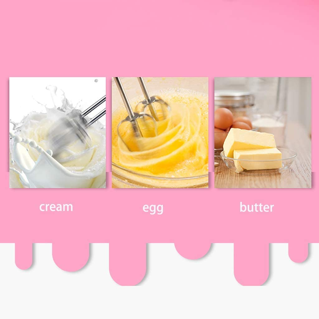 Mixeur à main sans acier JoinBuy.R Mélangeur électrique haute puissance 120 W pour mélanger les œufs, crème, facile à manuel, batteur à oeufs, rose (002) 001