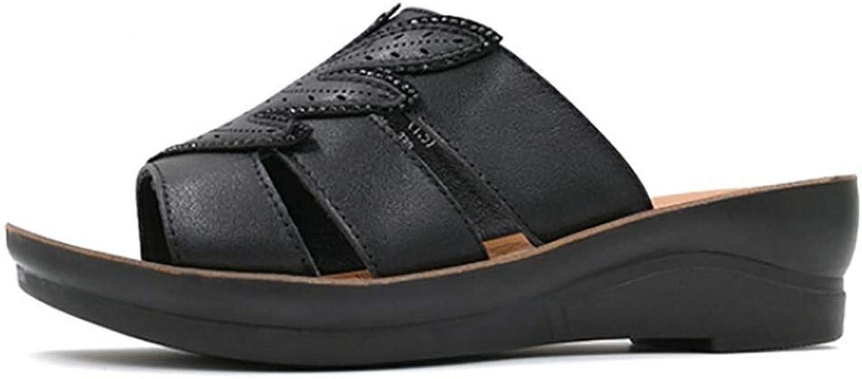 Oudan Frauen-Ahornblatt-Sandalen Sommer-Komfort-Leder-beiläufige Keil-Ferse verzierte schwarzes weißes Gehen (Farbe (Farbe (Farbe   Schwarz, Größe   35)  4014e7