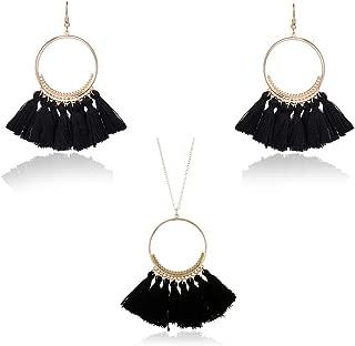 Women Colorful Bohemian Tassel Earrings Necklace Jewelry Sets Fashion Thread Fringe Long Pendant Necklace Chain Dangle Drop Earrings