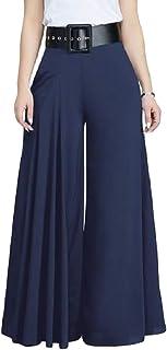 Macondoo 女性ピュアカラーpalazzoファッションワイド脚ズボンは、パンツパンツ