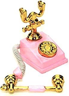 Gbell Mini Telephone Model for 1/12 Scale Miniature Kids Girls Dollhouse Accessories Toy (Pink)