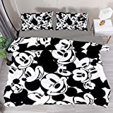 3 Pieces Classic Black White Mickey Mouse Breathable Bedding Set (1 Duvet Cover + 2 Pillowcases} King Room Decor for Women Men Adult Teens