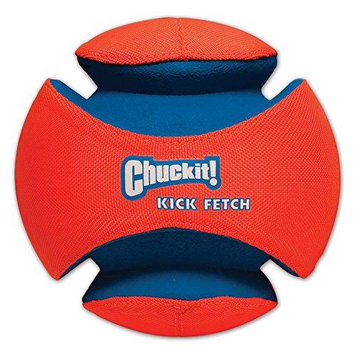 Chuckit Kick Fetch, hondenspeelgoed te volgen, hondenvoetbal, Large, blauw/oranje
