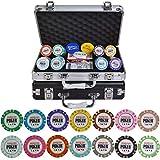 Dsnmm Fichas de Poker Set Crown Casino de póker Virutas Set 100/200/300/400 / 500pcs / Set Texas Hold'em Baccarat Chips con Maleta de Aluminio y Mantel (Color: Negro Caja 200pcs)