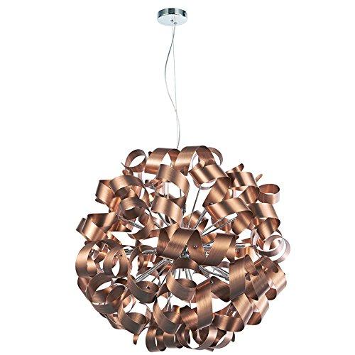 NOVA Lampe de salon LED halogène design or rose ✓ Hauteur réglable ✓ Intensité variable ✓ Culot G9   Suspension moderne pour salle à manger   Suspension réglable en continu avec lamelles en aluminium
