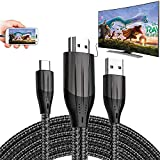 HDMI Adapter MHL Cable Braided 4K HD Video Converter Cord for Samsung Galaxy S20 S10 S9 Note LG G8 ThinQ V35 Android Phone iPad Pro iMac MacBook USB Type C Mirroring Charging to Monitor Projector TV