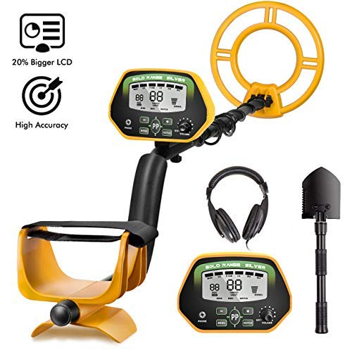 """RM RICOMAXMetal Detector for Adults- IP68 Waterproof Metal Detector with Headphones, High Accuracy, [All & Disc & Notch & Pinpoint Modes], 10""""Waterproof Search Coil, Adjustable Light"""