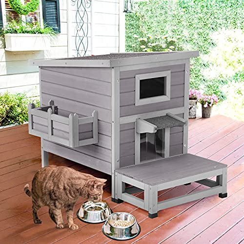 Aivituvin Cat Houses for Outdoor Cats with Escape Door, Weatherproof Outside Feral Cat Shelter