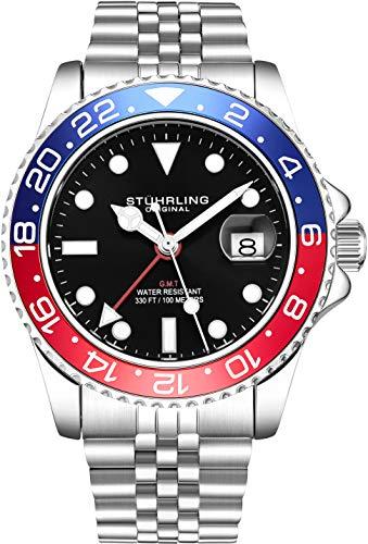 Stuhrling Original Herren Edelstahl Jubiläumsarmband GMT Uhr - Schweizer Quarz, Dual Time, Quickset Datum mit verschraubter Krone, wasserdicht bis 10 ATM (Blue/Red)