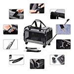 Coopeter Pet Carrier Stroller with Wheels for Travel and Outdoor,Easy to Fold,Durable Mesh Panels & Washable Fleece Mat … (Grey) 9
