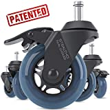 STEALTHO Replacement Office Chair Caster Wheels Set of 5 - Protect Your Floor - Quick & Quiet Rolling Over The Cables - No More Chair Mat Needed - with Brakes - Blue Polyurethane - Standard Stem 7/16