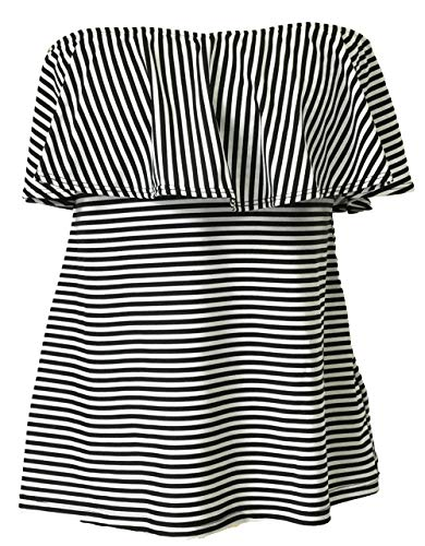 BLEND 4 THEE Women Swimwear Separate Swimsuit, Padded Bathing Suit, Flounce Ruffled Tankini or Brief (XXL, Tankini Top-White/Black Thin Stripes)