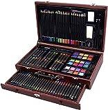 Mallette en bois 140 pièces de coloriage et dessin, peinture et pastel avec tiroirs et accessoires (Mallette 140 pièces)