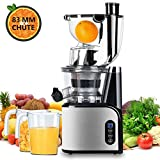 Aobosi Extracteur de Jus Vertical Slow Juicer 80mm Large Bouche Extracteur de Jus Presse à Froid Machine Quiet High Moteur...