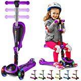 SKIDEE S Scooter for Kids with Foldable and Removable Seat – Adjustable Height, 3 LED Light Wheels, 3 Wheels Kick Scooter for Girls & Boys 2-12 Years Old - Y200