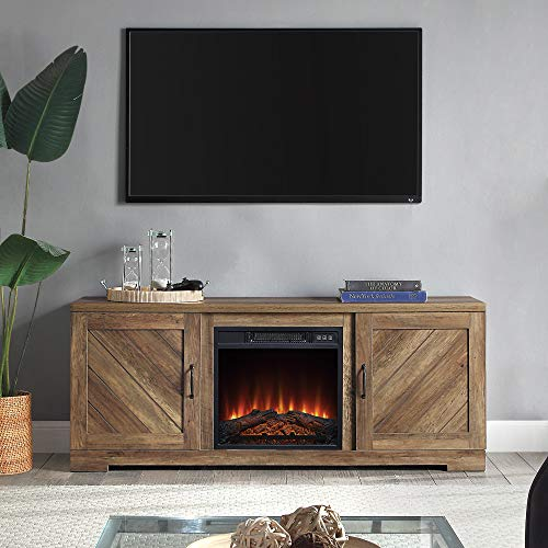 BELLEZE Modern Farmhouse Electric Fireplace TV Stand & Media Entertainment Center Console Table for TVs up to 65 Inch with Storage Cabinets and Infrared Heater - Hilo (Rustic Oak)
