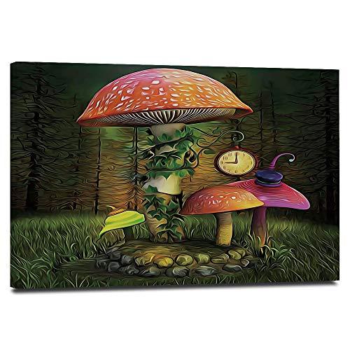Fantasy Decor - Lienzo enmarcado para pared, 61 x 40,6 cm, diseño de bosque de ficción con setas gigantes y elfos, imagen mágica encantada para tu sala de estar, imágenes modernas en lienzo de paisaje
