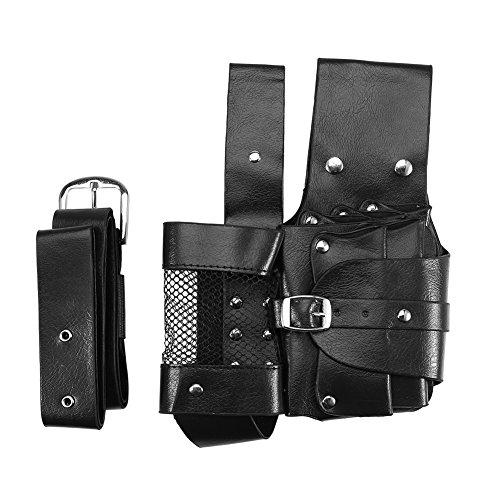 Bolsa de Herramientas de Peluquería Profesional, Fundas de Cuero con Cinturón Extraíble para Herramientas de Peluquería(Negro)