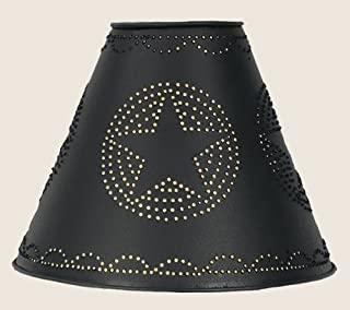 Punched Star Tin Clamp On Lamp Shade in Black