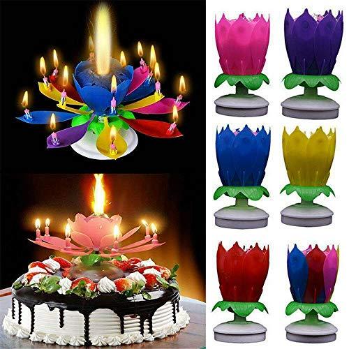 cho 6 Couleurs gâteau Magique Anniversaire Fleur de Lotus-Fleur tournante Musicale Outils de décoration de gâteau Mehrfarbig