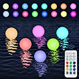 Floating Pool Lights Balls 16 Colors Waterproof Hanging Pond LED Ball Lights Hot Tub Kids Graffiti Night Light with Remote Control Timer for Pool Pond Party Décor