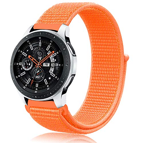 Th-some 22mm Correa para Samsung Gear S3,Pulsera de Nylon para Galaxy Watch 46mm, Banda de Reloj de Nylon Deporte Pulsera de Repuesto para Galaxy Watch 46mm/Galaxy Watch Active/Gear S3(Naranja)